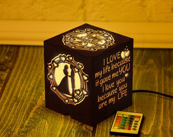 Lord of the Rings Birthday gift Night light box Wooden LED
