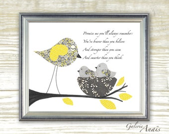 "Promise me ""Winnie the pooh"" - childrens wall art - kids room - yellow and gray baby nursery art - Birds nursery nest - Warm and Cozy"