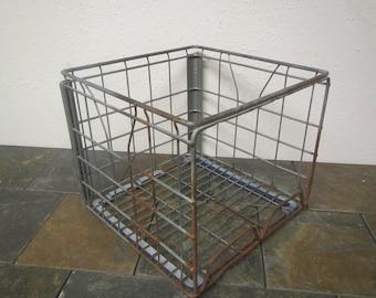 vintage Milk Crate, metal wire  crate, Schroeder Milk Co.  9 / 1985 * storage crate