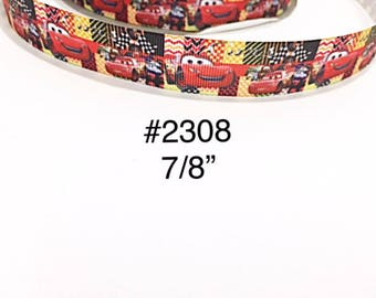 """3 or 5 yard - 7/8"""" Transportation Cars on Striped and Checkers Motif Grosgrain Ribbon For Hair bow Craft Supply"""