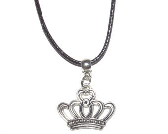 Crown Necklace _ Personalized Crown Charm Pendant Necklace _ Tiara Crown Princess Queen King Royal Royalty _ Crown Charm Necklace
