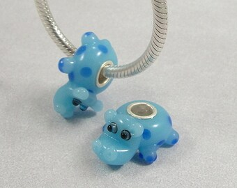 Hippopotamus Large Hole Lampwork Glass Bead - 925 Sterling Silver European Bead Charm