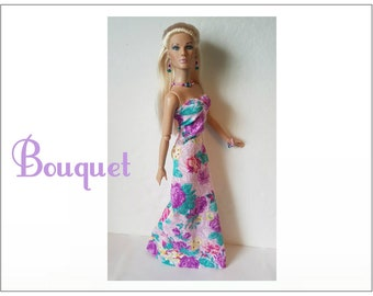 "Tyler Doll Clothes - BOUQUET Lavender Florals Gown & Jewelry - Custom Fashion fits 16"" Tonner dolls - by dolls4emma"