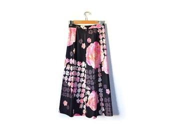 60s Maxi Skirt / Floral Print Skirt / Bohemian Maxi Skirt / Black Skirt / Psychedelilc Skirt  Pink Women Clothing / Vintage Skirt / Bottoms
