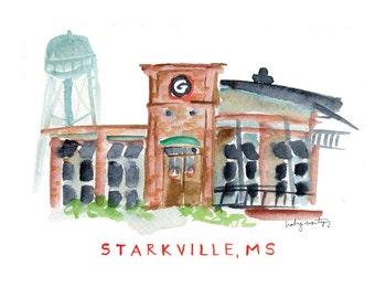 """Starkville Mississippi Restaurant Print -- Central Station Grill 8 x 10"""""""