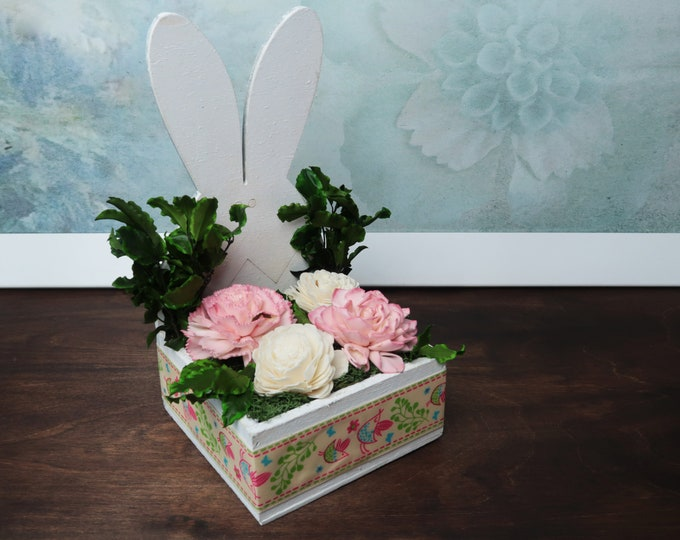 Easter bunny floral decoration Natural pink ivory sola flowers preserved greenery home decor wooden bunny spring flowers