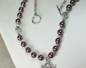 Woman's Catholic Necklace; Burgundy Pearl & Sterling Silver Our Lady of Grace Necklace
