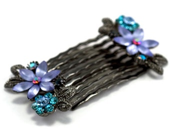 Hand Made Hair Jewelry Pair of small combs swarovski crystal flower pattern Blue(SO2098-bl)
