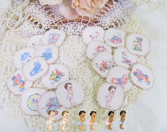 Baby Shower Favor Adhesive Label Stickers - Set of 20 - It's a Girl or Boy - Vintage Style Baby Shower sprinkle