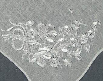 Shining White Flowers Embroidered on a Fine Cotton VINTAGE Hankie Handkerchief