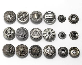 6 Pcs 0.59 Inches Retro Gun/Anti-silver Patterns Snap Fasteners Metal Shank Buttons For Down Jackets Coats Jeans