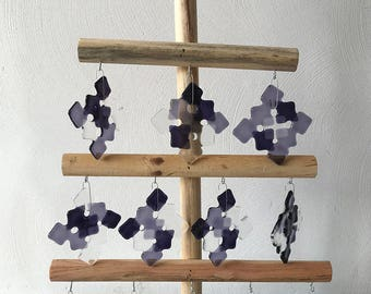 Buy 3 and Pay 2 (Christmas special).         Christmas stars of fused glass in purple shades