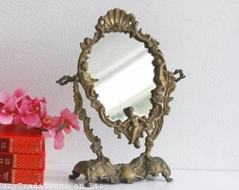 Vanity Mirror Table Makeup Mirror on Stand: Vintage Victorian Brass Oval Mirror, Dresser Tilt Mirror Decorated with Cherubs