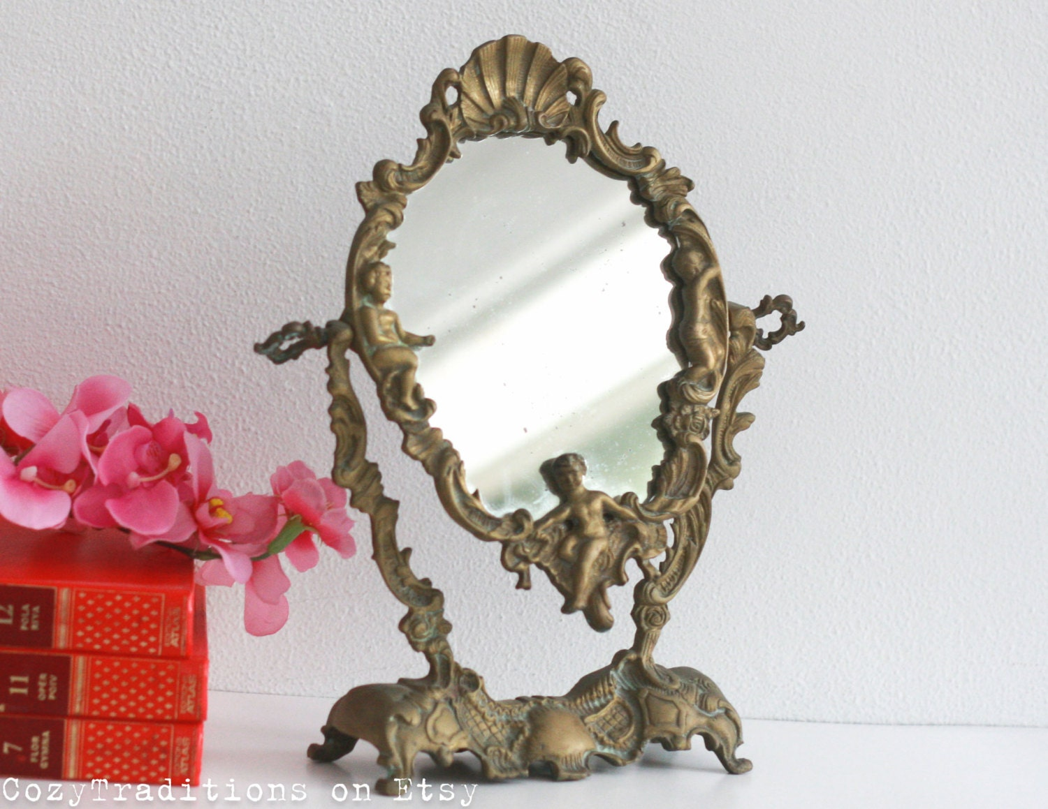 mirror on a stand vanity.  zoom Vanity Mirror Table Makeup on Stand Vintage Victorian