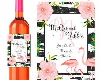 Wedding Wine Labels Personalized Labels Custom Wedding Stickers Tropical Flowers Flamingos Flower Labels