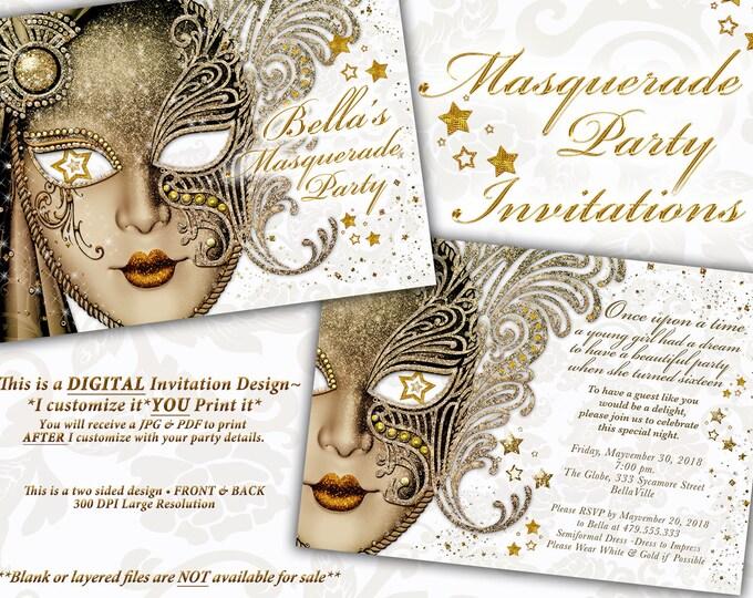 Masquerade Party Invitation, Mardi Gras Party, Party Invitations, Masquerade Invitations, Gold White Masquerade
