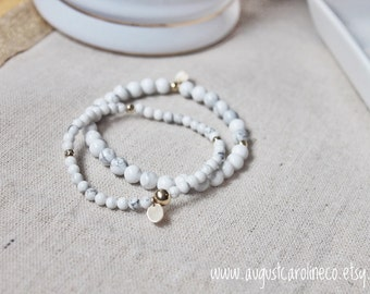 White Marble Bracelet Stack with 14KT Gold Filled Hardware // Gifts for Her // Minimalist Jewelry // Marble // White Howlite Christmas Gift