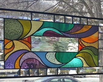 ARTISTICALLY SWIRLED Stained Glass Window Panel (Signed and Dated)