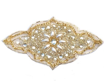 White pearl applique, rhinestone applique with gold beads #134