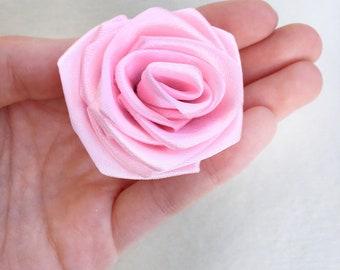 Pink Satin Rose - Bouquet DIY Flower - Singed Flower - Pink Ribbon Flower - Hanmade Satin Flower - Ribbon Flower - Wedding Ribbon Flow