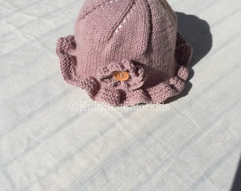 Hand made baby girl sun Hat, Sunhat, Toddler Sunhat,  Holiday, Summer, Beach, Ruffle brim, Flower Motif,