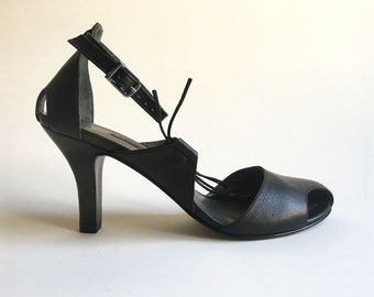 Jiji - Black Leather- FREE SHIPPING Handmade Shoes with Summer Sale Price