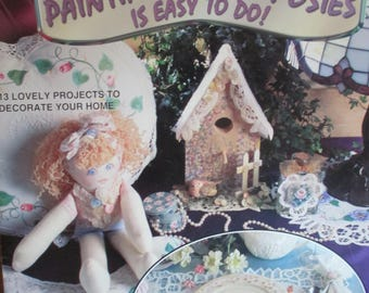 """Folk Art Tole painting """"  Painting Pretty Posies easy To Do"""" 1997 used booklet 17 pages"""