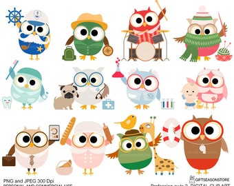 Profession owl part 2 clip art for Personal and Commercial use - INSTANT DOWNLOAD