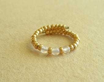 White agate gemstone memory wire beaded ring