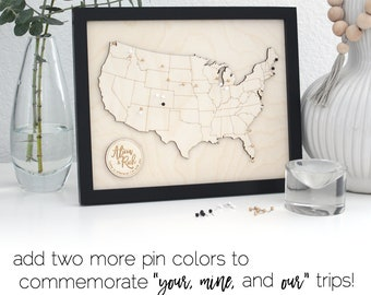 Personalized Push Pin Framed Wood United States of America Travel Map | Custom Engraved Wooden US USA Road Trip Going Away Graduation Gift