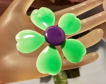 1960's Green & Blue Enamel Daisy Flower Floral Brooch Pin Jewelry Vintage Retro