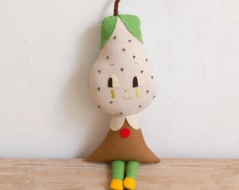 Pear Doll. One-of-a-kind handmade rag doll. Fruit doll. Pear art doll. Anthropomorphic Rag doll. Soft sculpture. Sit doll.