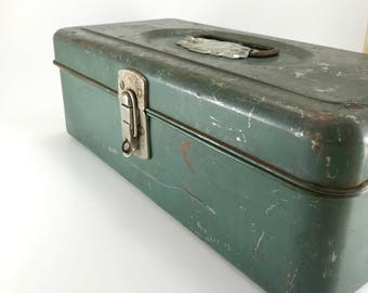 Union Utility Chest Vintage Tackle or Tool Box. Union Steel Chest Corporation Relic.