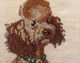 Vintage Poodle cross stitch, 1940's, handmade, brown poodle, dog portrait,