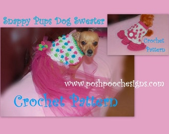 Instant Download Crochet Pattern - Snappy Pups Sweater Dress for Dogs - Small Dog Sweater