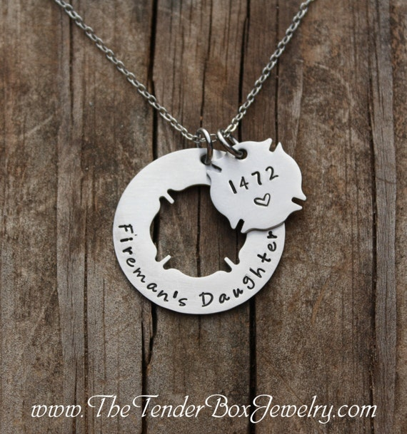 Personalized firemans daughter necklace with badge number like this item aloadofball Choice Image