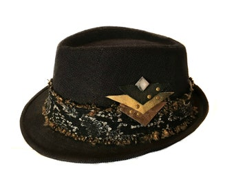 burning man hat, steampunk festival outfit ,rave hat, psychedelic trilby, psy trance costume, cyberpunk fedora, post apocalyptic hats & caps
