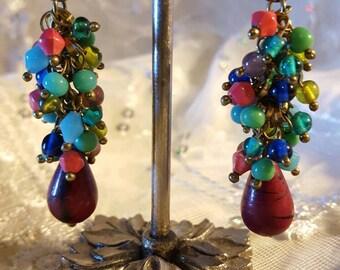 Earrings, Dangling, Vivrent Multi Colored Beads, Gypsy, Mandarin, Moroccan, Bohemian Style Earrings, Festive, Gift For Her.