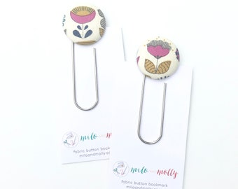 Jumbo Paperclip Bookmark. Mod Flowers. Teacher Gift for End of Year.