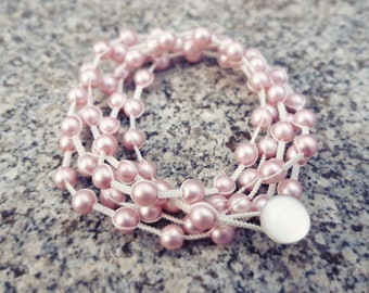 Macrame Multi-wrap Bracelet with Glass Pearls in Antique Satin Pink