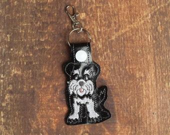 Schnauzer Keychain Key Chain Dog Luggage Tag Keychain Bag Tag
