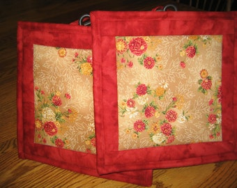 Fall Floral Pot Holders - Set of 2