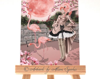 Pink Flamingo Pink Fairy Pink Rococo Ball Gown Pink Moon ACEO ATC Art Card