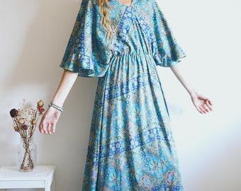 Vintage Hippie Maxi Dress, 70s Dress, 70s Boho, Boho Dress, Psychedelic, Geometric Print, Maxi Dress, Full Length Dress, Hippie, Bohemian