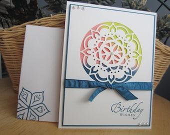 Birthday card, medallion birthday card, die cut birthday card