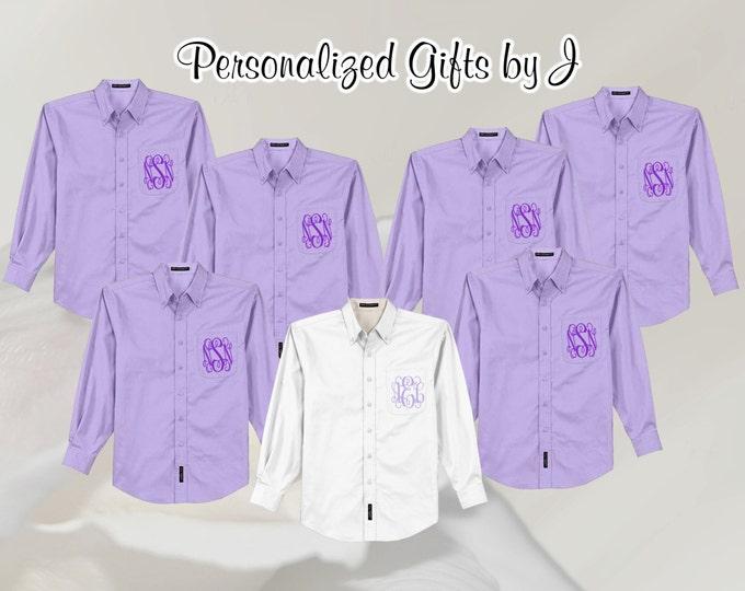 2 Monogrammed Bridesmaid Shirt, Oversized Bridal Party Shirt, Personalized Shirt, Bridesmaids Gift, Bachelorette Party, Getting Ready Shirts