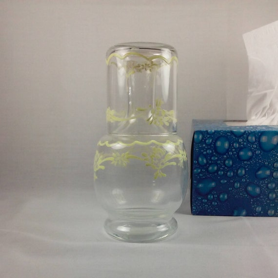 Bedside Water Pitcher Glass Set Clear Glass Yellow Bedside
