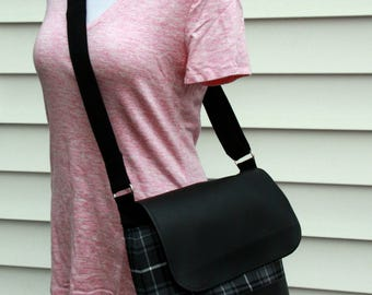Podium Messenger Bag - Black and White with Black Vinyl / Faux Leather