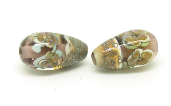 Encased Flower Teardrop pair.