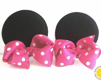 Deluxe Minnie Mouse Ear Hair Barrettes or Clips
